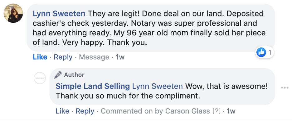 Lynn Sweeten comment